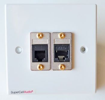 UK / EU wall plate with data Cat 5e and Telephone jacks.