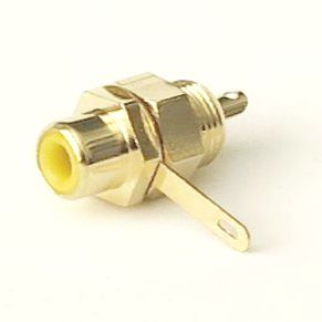 RCA connector surface mount, gold plated, color coded yellow (video). Soldering required. #RCA-FS-Y