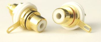 RCA connectors for chassis/bulkhead mount. 1 pair, gold plated, color coded (red and white). #RCA-FS-RW-1120