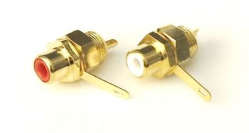 RCA connectors chassis/surface mount, gold plated, color coded (red and white). #RCA-FS-RW-1204