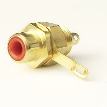 RCA connector chassis / surface mount. Gold plated, color coded red. Soldering required. #RCA-FS-R