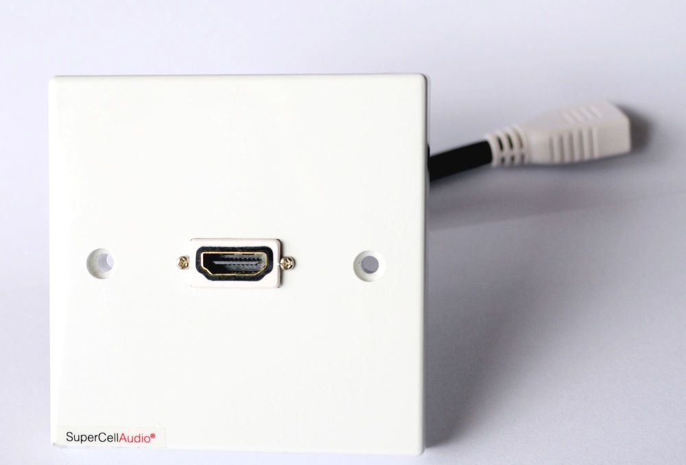 HDMi wall plate with short cable on the back side terminated with HDMi fema