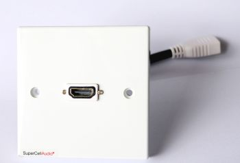 HDMi wall plate with short cable on the back side terminated with HDMi female connection.
