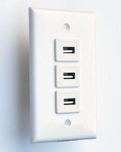 3x USB 2.0 A-A wall plate #01.3U.2.0.A-A