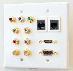 Component audio video HDMI data telephone VGA wall plate