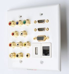 HDMi audio video component USB data wall plate