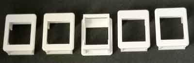 Plastic frame for Keysone module installation. Set of 5, white.
