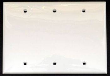 Blank wall plate 3G triple size, unbreakable, by Leviton.