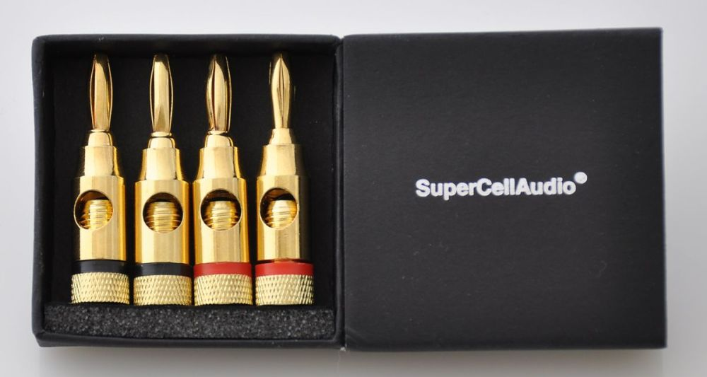 Gold Plated Color Coded Banana Plugs set of 2. #400.005.BULK