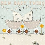 Laura Sherratt Ditsy Daisy  New Baby Twins Card