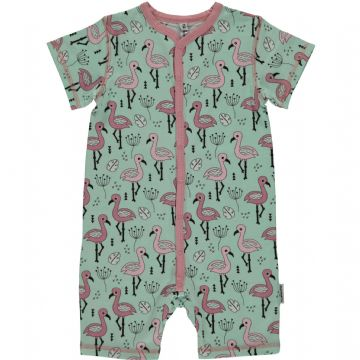 Maxomorra Sweet flamingo rompersuit short sleeve