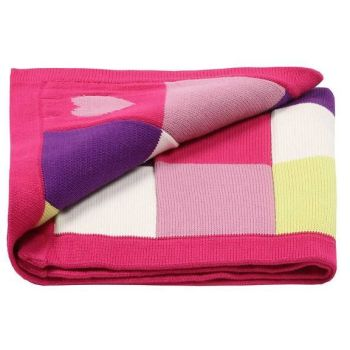 Lilly & Sid Patchwork Hearts Cotton Knit Blanket