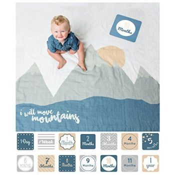 Lulujo I Will Move Mountains Baby's First Year Muslin Blanket & Milestone cards