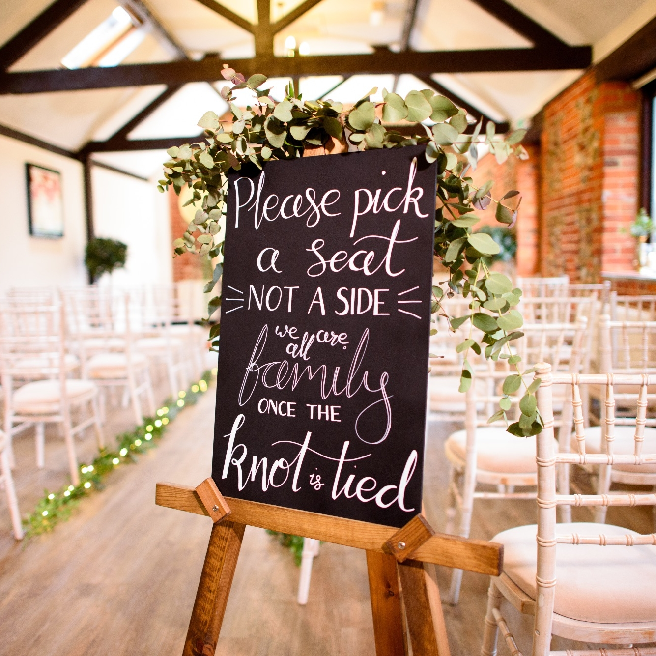 Ceremony sign 'Pick a seat not a side' chalkboard with mixed font detail