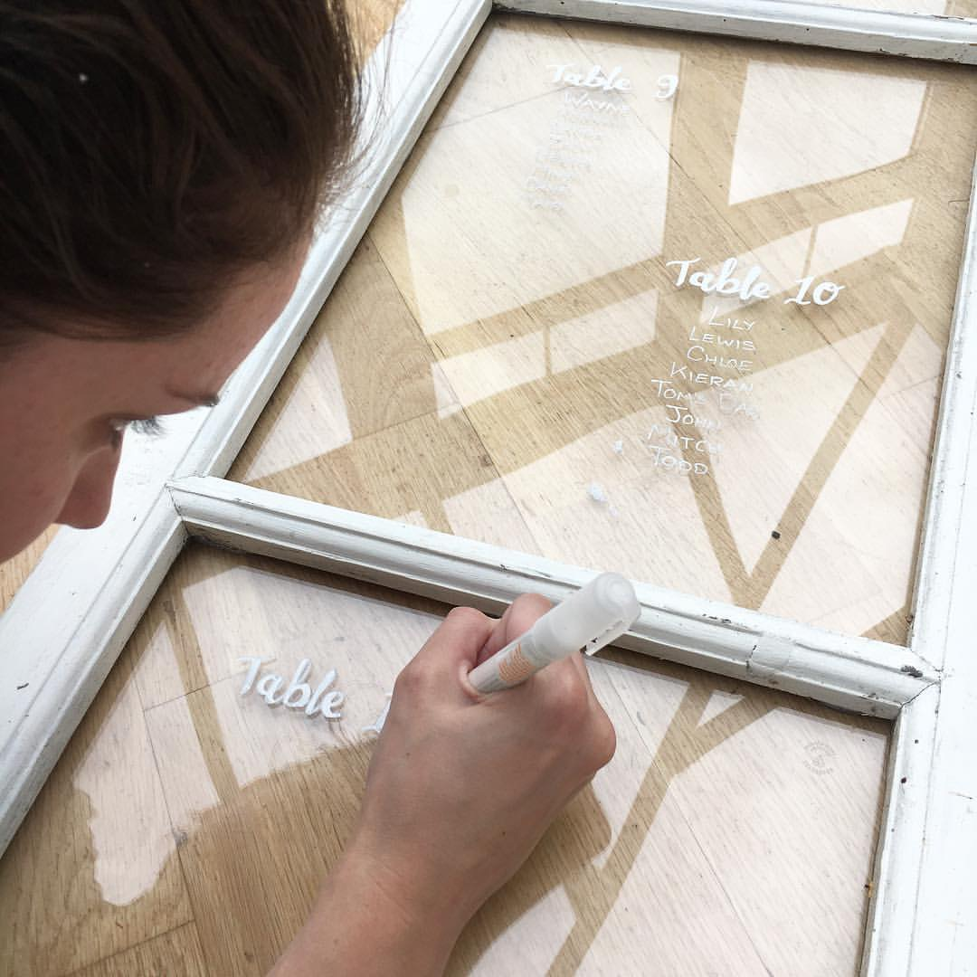 hand writing table plan on to glass pane door