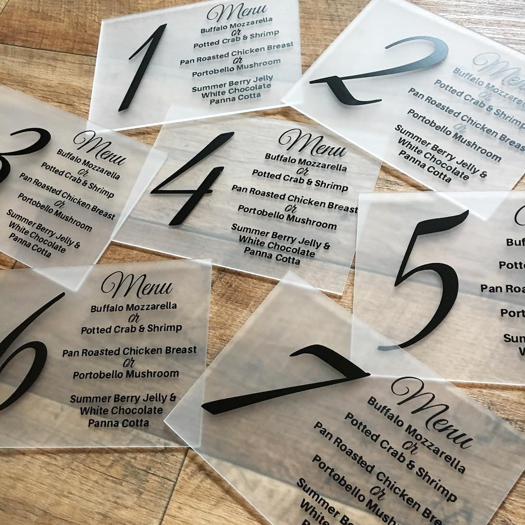 frosted acrylic table numbers with wedding breakfast menu