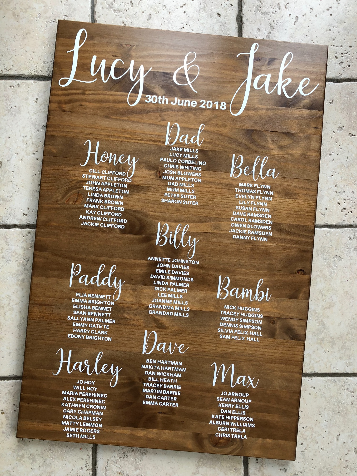 Large wooden pin table plan for wedding