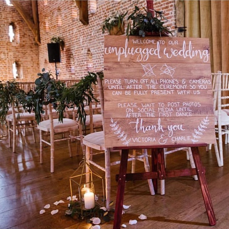 Floor board design wooden unplugged ceremony sign