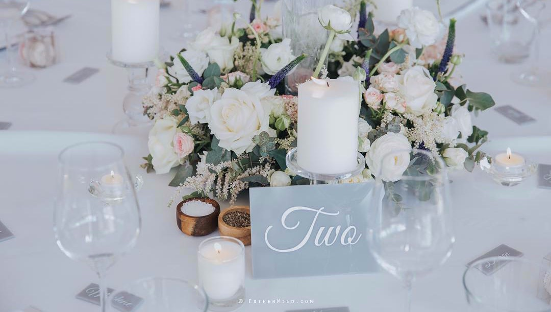Grey perspex table number