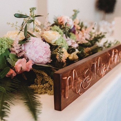 Wedding top table surname decoration