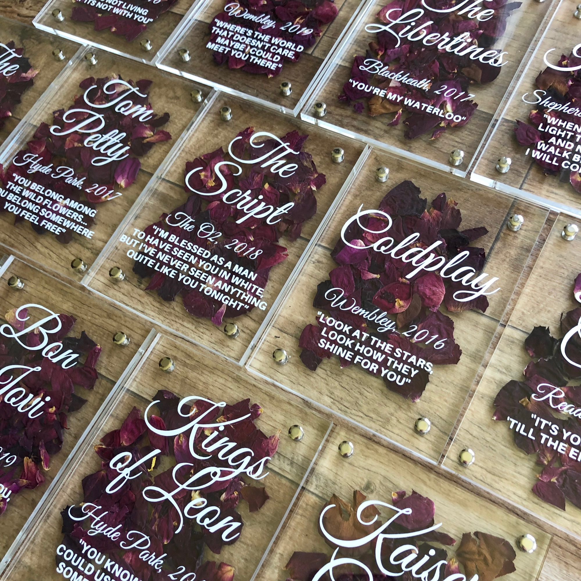 Pressed flower confetti filled table names