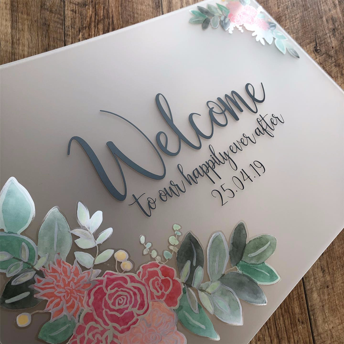 Frosted acrylic wedding welcome sign with flower detail