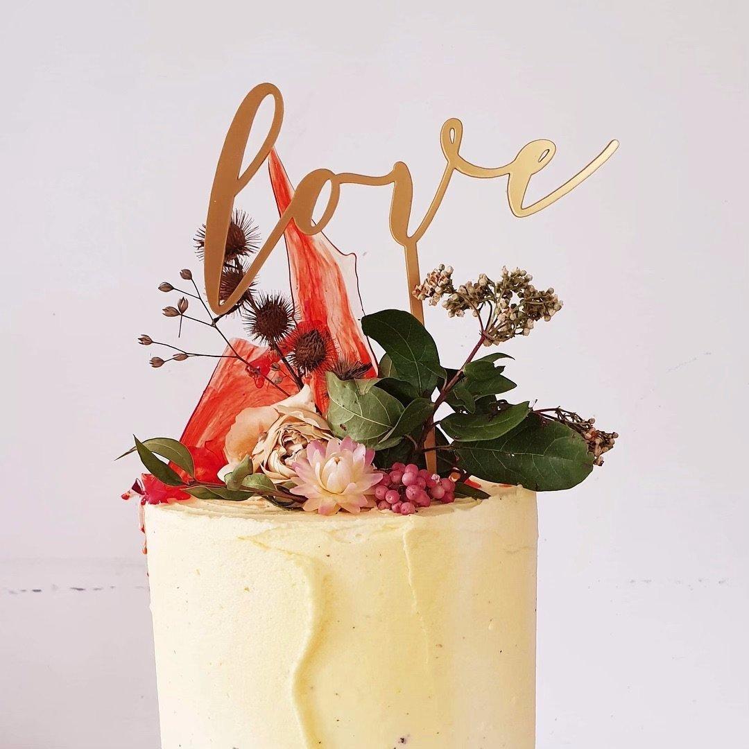 Acrylic love cake topper