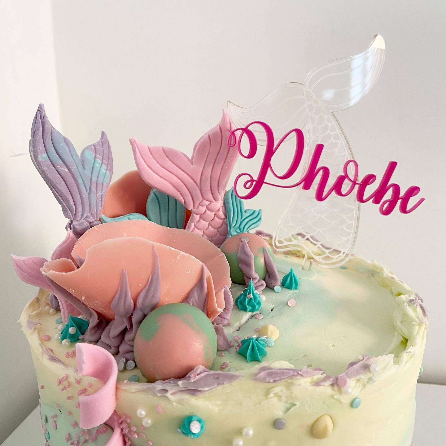 Personalised mermaid cake topper