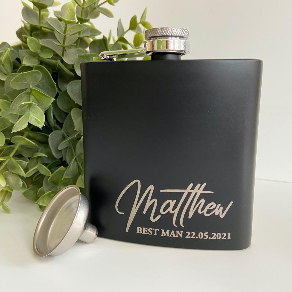 Personalised Matt Black Hip Flask