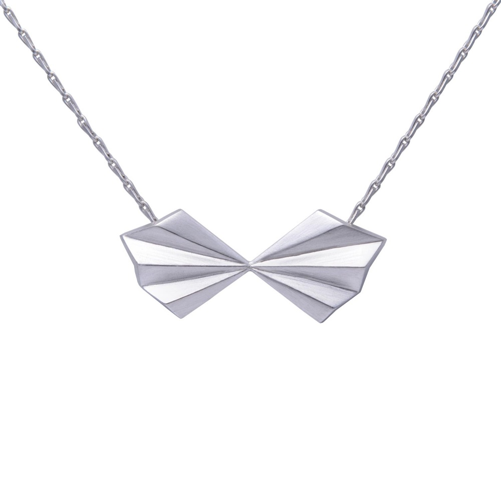 Pleated Silver Bow Necklace