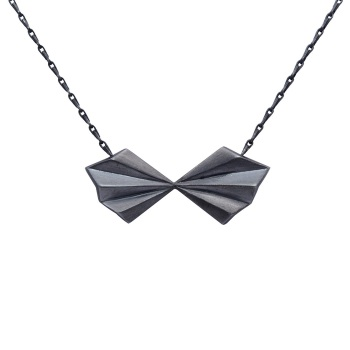 Pleated Black Bow Necklace