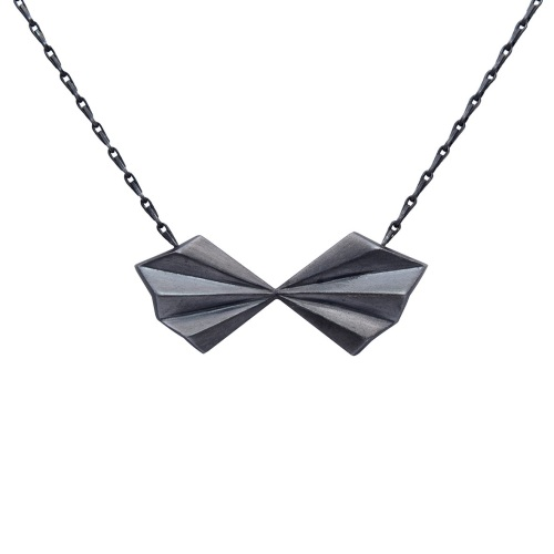 Pleated Bow Necklace in oxidised silver