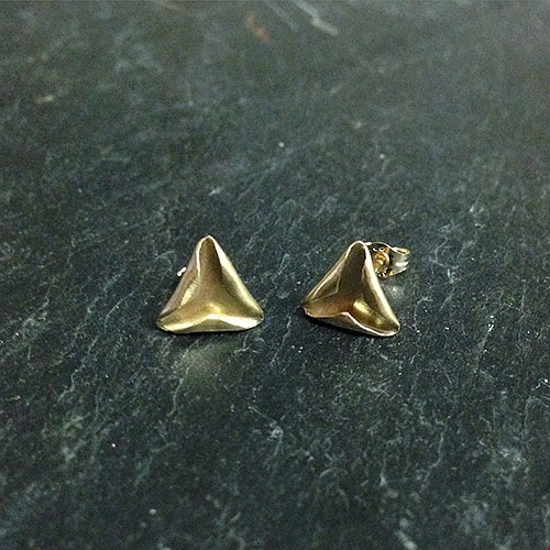 Folded 9ct Triangle Studs by Alice Barnes