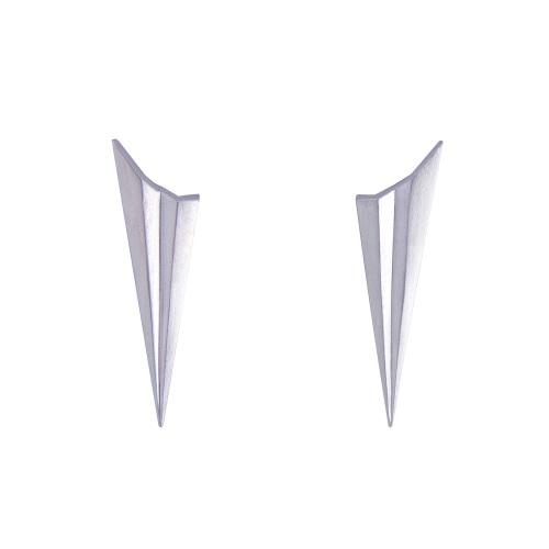 Pleated Silver Long Studs