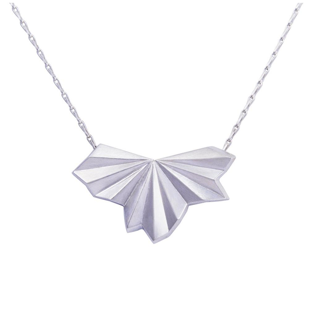 Pleated Silver Fan Necklace