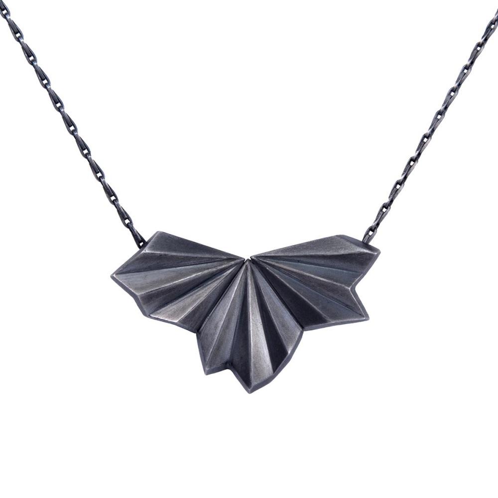 Pleated Black Fan Necklace by Alice Barnes