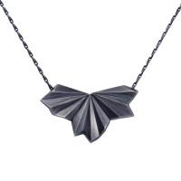 Pleated Black Fan Necklace
