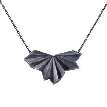 Pleated Black Fan Necklace