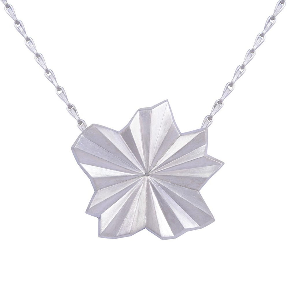 Pleated Silver Star Necklace