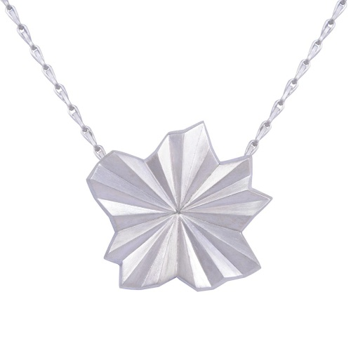Pleated Silver Star Necklace by Alice Barnes
