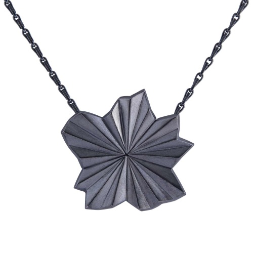 Pleated Black Star Necklace by Alice Barnes