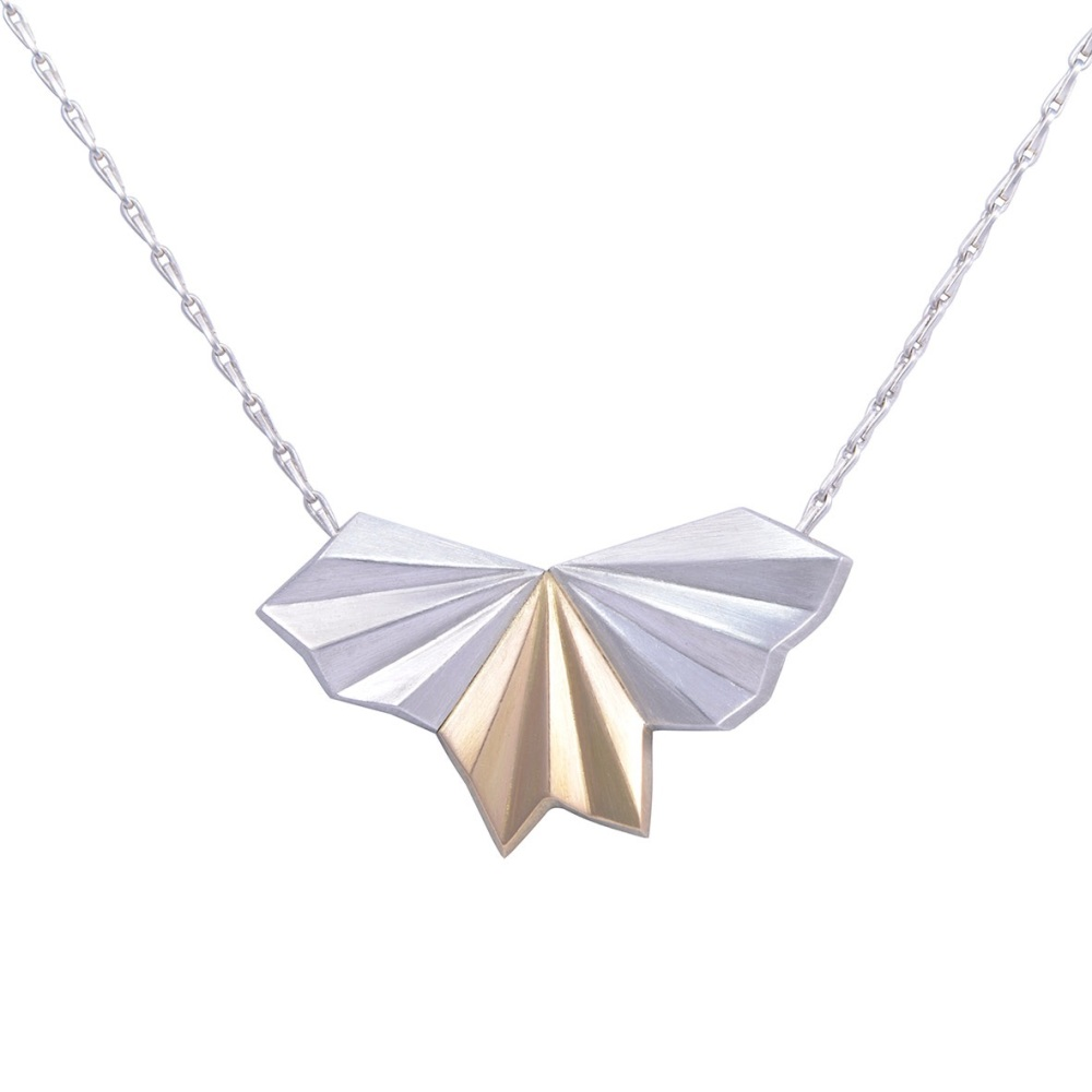 Silver & 18ct Gold Pleated Wings Necklace by Alice Barnes Jewellery