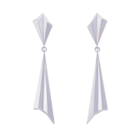 Pleated Silver Drop Earrings