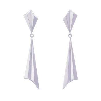 Pleated Silver Drop Earrings