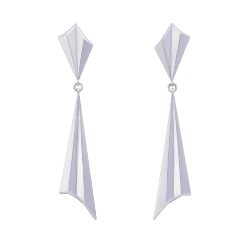 Silver Pleated Drop Earrings by Alice Barnes