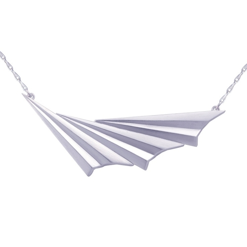 Pleated Silver Wave Necklace by Alice Barnes