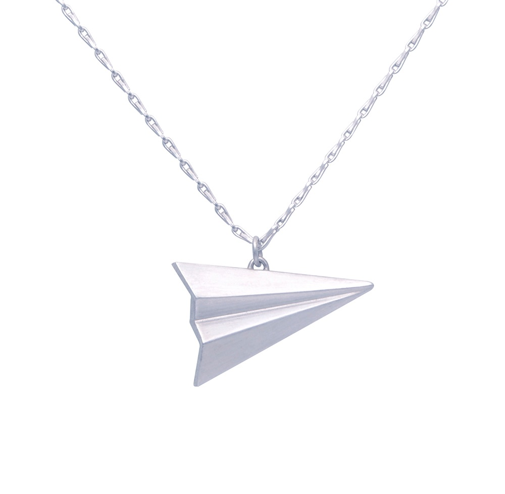 Pleated Silver Paper Plane Necklace