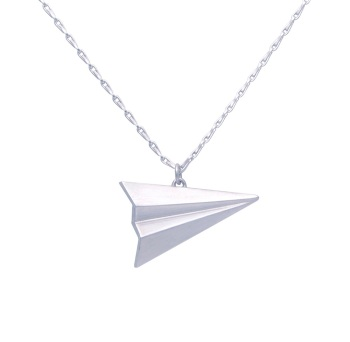 Paper Plane Silver Necklace