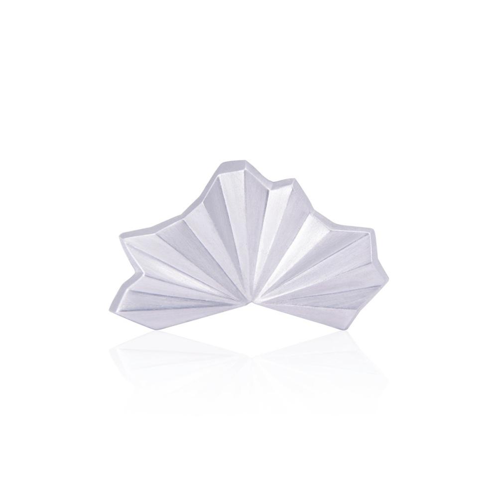 Pleated Silver Fan Ring (plain)