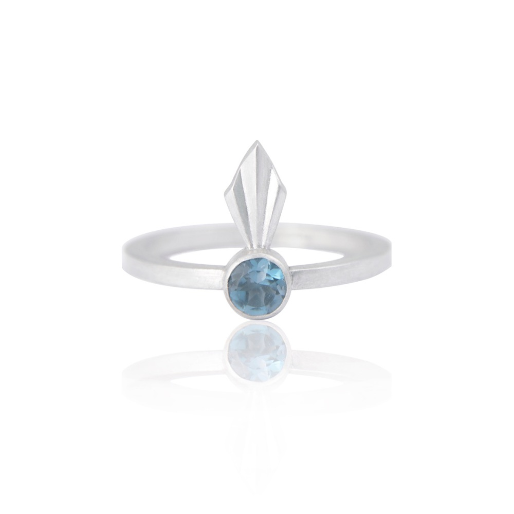 Pleated Silver Petal Ring by Alice Barnes